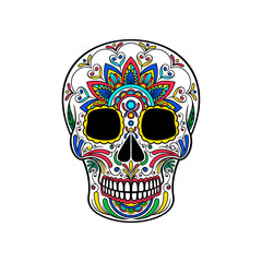 Mexican sugar skull with colorful floral ornament, Day of the death vector Illustration