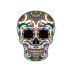 Mexican sugar skull with colorful floral ornament, Dia de Muertos vector Illustration