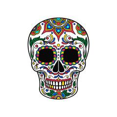 Mexican sugar skull with colorful floral ornament, Dia de Muertos vector Illustration