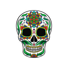 Mexican sugar skull with colorful floral pattern, Dia de Muertos vector Illustration