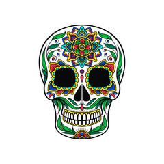 Mexican sugar skull with colorful floral pattern, Dia de Muertos vector Illustration