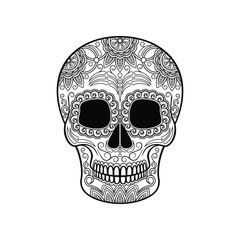 Day of The Dead Skull, sugar skull with floral ornament black and white vector Illustration