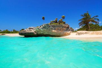 Amazing Caribbean sea beach in Playa del Carmen, Mexico
