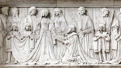Lady Jane Grey is offered the Crown of England. Frieze on the exterior wall of the Supreme Court in London