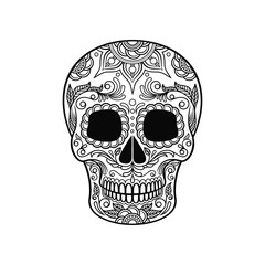 Sugar skull with floral pattern, Dia de Muertos black and white vector Illustration