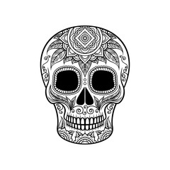Sugar skull with floral ornament, Dia de Muertos black and white vector Illustration