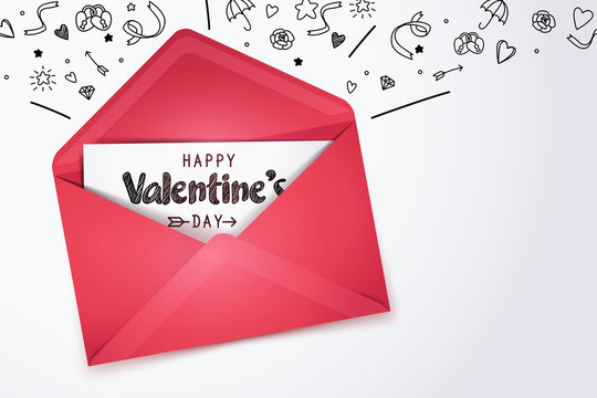 Red opening mail and Happy valentine's day card with doodles of love icon on white background