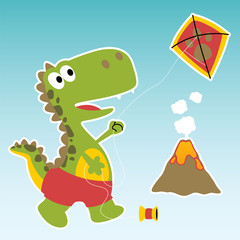 cute dino cartoon playing kite