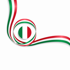 Italian wavy flag background. Vector illustration.
