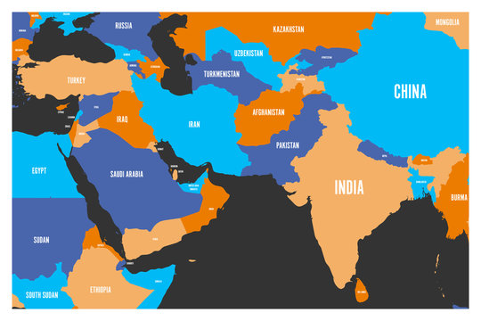 Political map of South Asia and Middle East countries. Simple flat vector map in four colors.