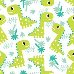 seamless green dinosaur pattern vector illustration