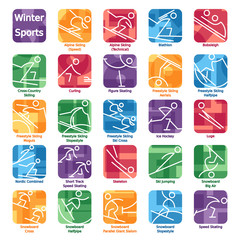 Colorful Winter Sport Icons