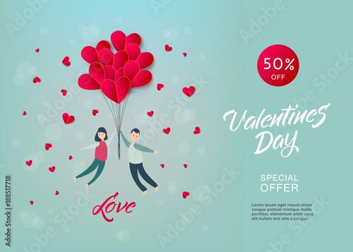 vector happy valentines day illustration invitation card sale