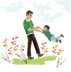 family and home, joyful moments of life. color vector image of a family nature for design