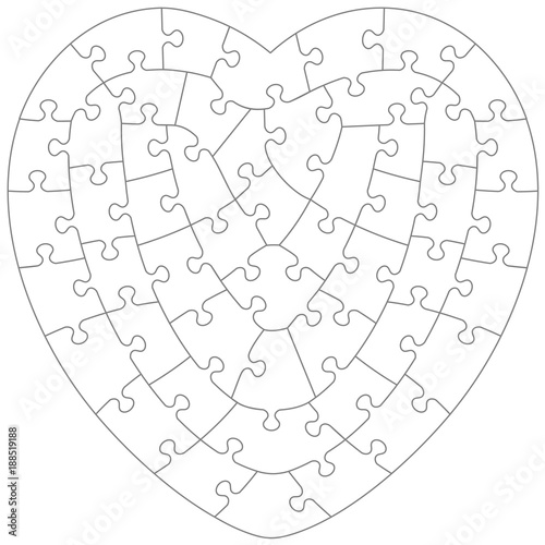 heart shaped jigsaw puzzle blank template with irregular hand cut