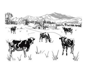 Milk farm VECTOR sketch, outline, rural landscape drawing.