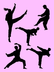 Karate martial art gesture silhouette 02. Good use for symbol, logo, web icon, mascot, sign, or any design you want.