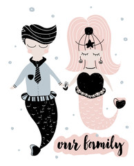 Card with calligraphy lettering our family and couple of mermaids in scandinavian style. Vector illustration