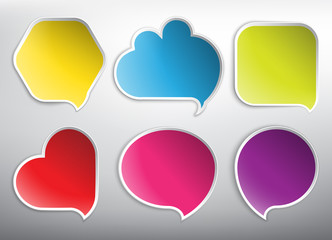 Speech bubbles in 6 different shapes and colors. Isolated on the white background. Each item contains space for own text. Vector illustration. Eps10.