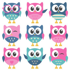 Set of colorful funny owls
