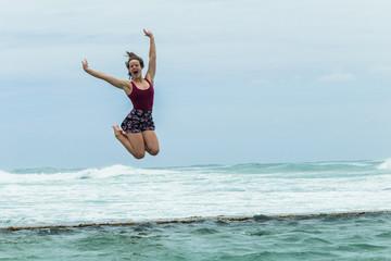Girl Happy Holidays Beach Jumping Tidal Pool Ocean