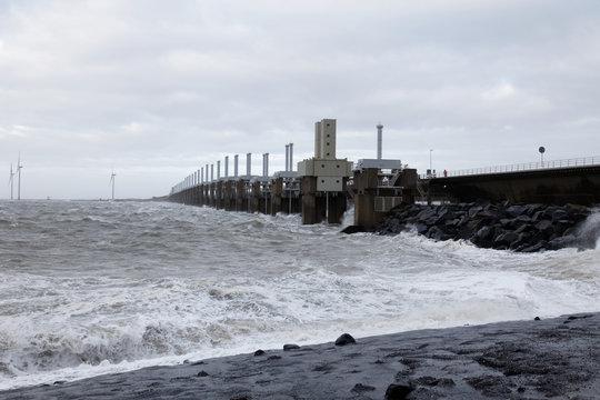 Dutch Delta Works-the Eastern Schelde, Oosterschelde storm barrier closed for storm and flood