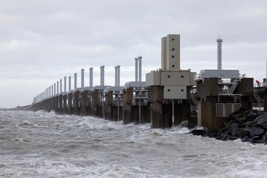 Dutch Delta Works-the Eastern Schelde, Oostetrschelde storm barrier closed for storm and flood