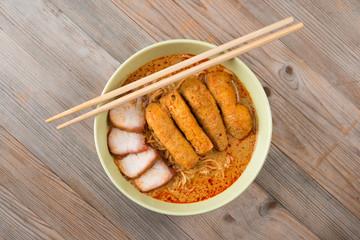Top view Curry Noodles Asian cuisine