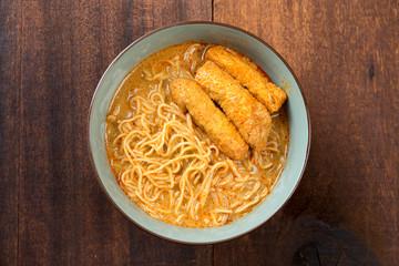 Top view Curry Laksa Noodles Asian cuisine