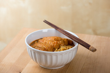 Hot and Spicy Curry Laksa Noodles cuisine