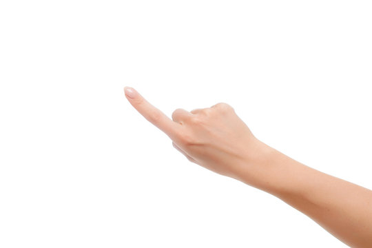 Closeup of woman hand showing index finger gesture white background