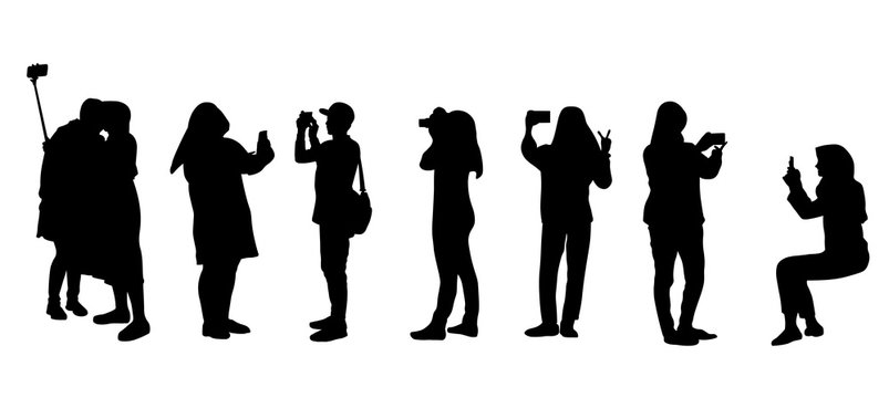 Set of people silhouette making photos during vacation or traveling.