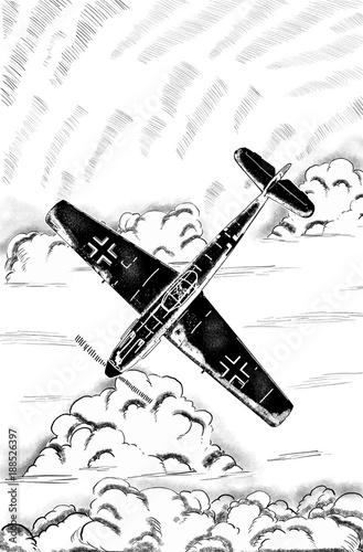 Digital Sketch Of World War 2 German Aircraft Stock Photo And