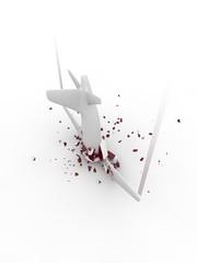 Flugzeugabsturz 3D Illustration