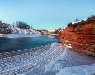 rock on the river. Leningrad region. Russia