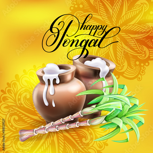 Happy pongal greeting card to south indian harvest festival stock happy pongal greeting card to south indian harvest festival m4hsunfo