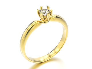 3D illustration yellow gold traditional solitaire engagement diamond ring