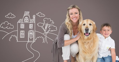 Mother with son and dog with home drawings