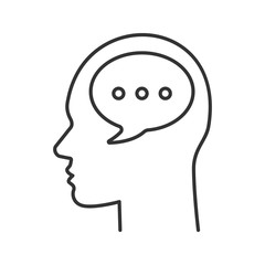 Human head with speech bubble linear icon