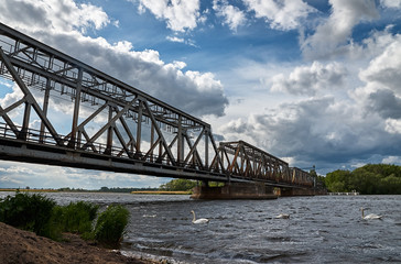 Railway bridge under a cloudy sky. Swans swimming in the river.