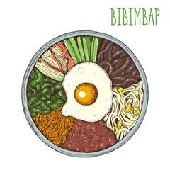 Bibimbap vector illustration. Korean food. Cartoon style.