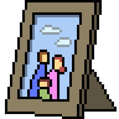 vector pixel art family picture