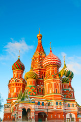 Saint Basil's Cathedral on sunset at Red Square in Moscow, Russia