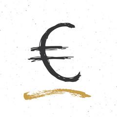Dollar sign icon brush lettering, Grunge calligraphic symbols, vector illustration isolated on white background