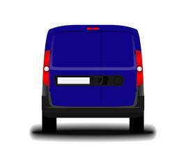 realistic cargo van. back view.