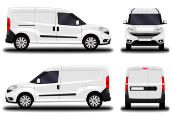 realistic cargo van. front view; side view; back view. - fototapety na wymiar
