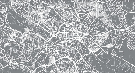 Urban vector city map of Leeds, England