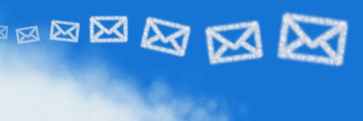 Email Cloud Icons with sky