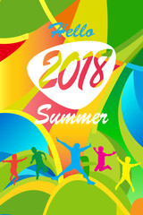 2018 Hello Summer Abstract composition geometric dynamic colorful shapes modern bright color design template. Festival, Carnival, Attraction, kids party, sport camp, travel around world concept.