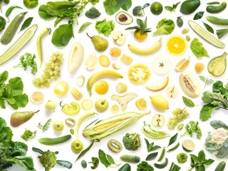 Fototapete - Food texture. Seamless pattern of various fresh yellow and green vegetables and fruits isolated on white background, top view, flat lay. Composition of food, concept of healthy eating.